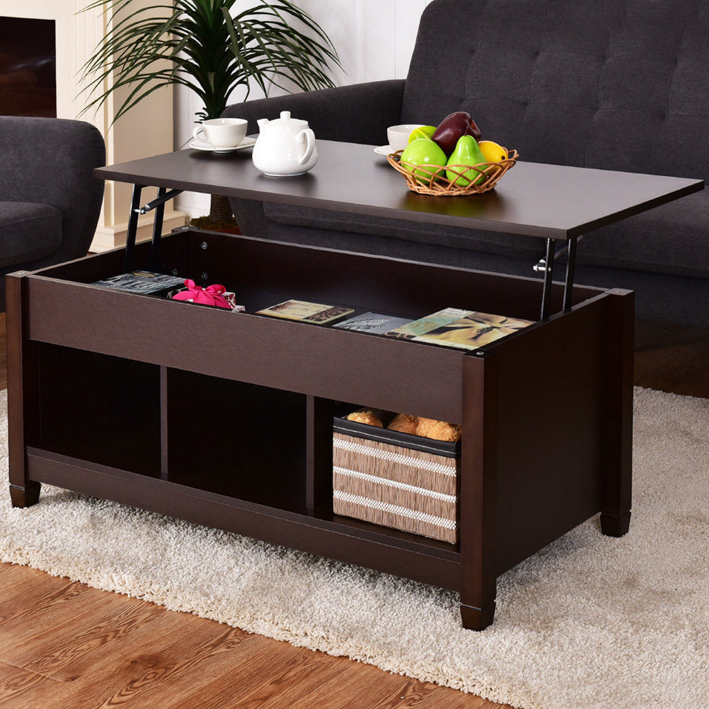 Expresso Coffee Table.Costway Espresso Lift Top Coffee Table W Hidden Compartment