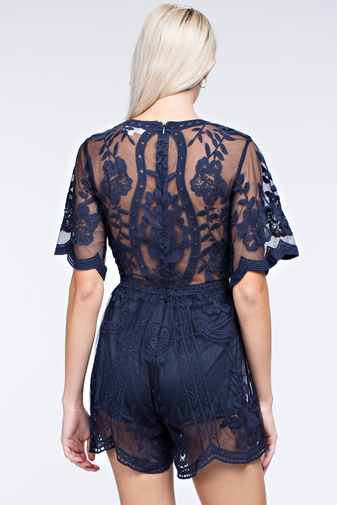 MOONRAY NAVY LACE PLAYSUIT
