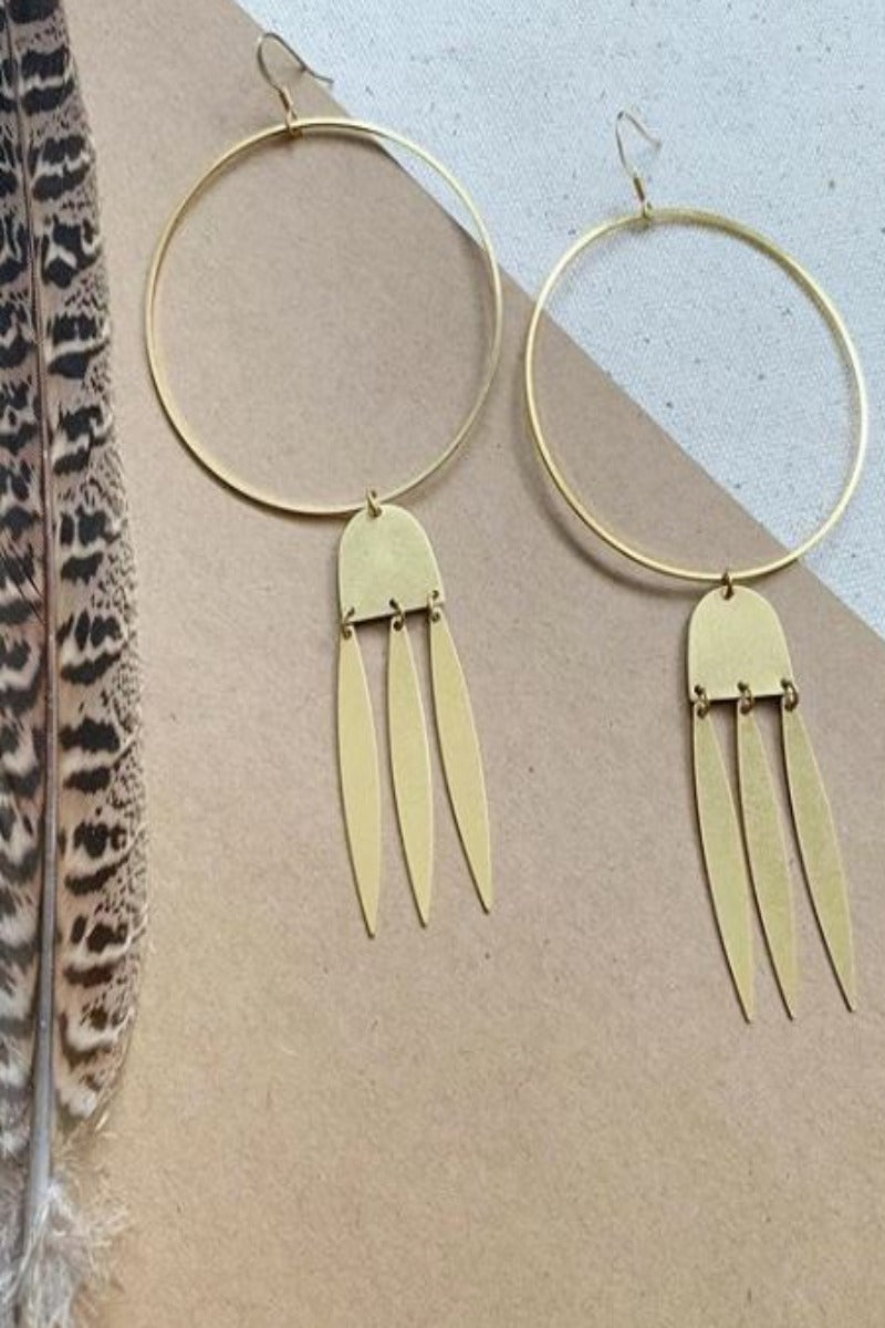 Brass Dangle Hoops