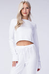 Run Away Cropped Crew Pullover - White