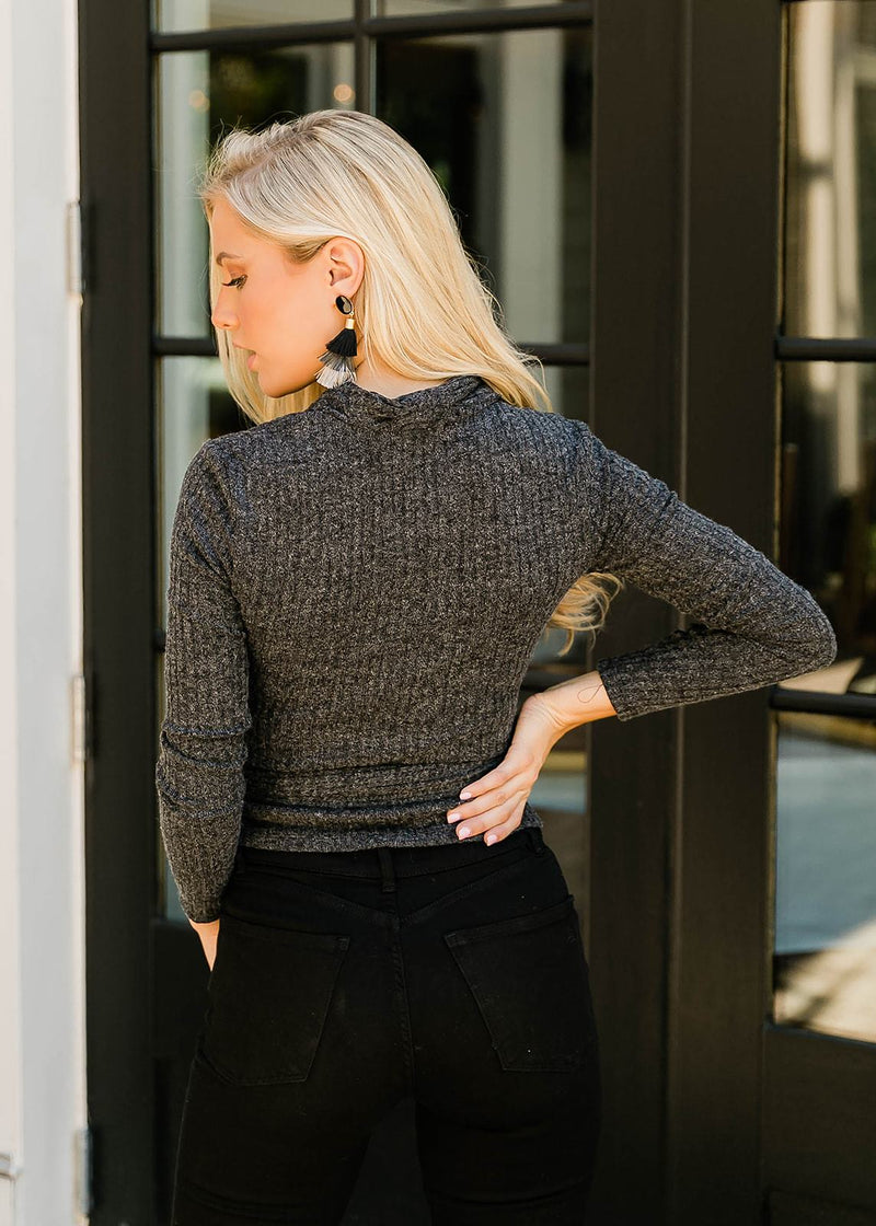 CELESTE WRAP SWEATER- CHARCOAL
