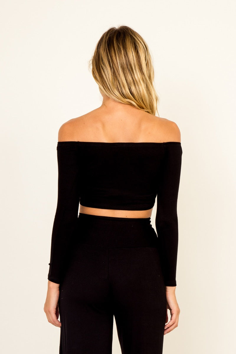 Umbra - Off Shoulder Knit Crop Top