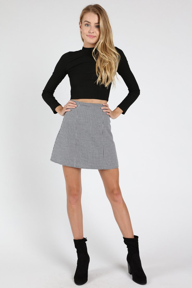 High Waisted Skater Skirt With Back Zipper