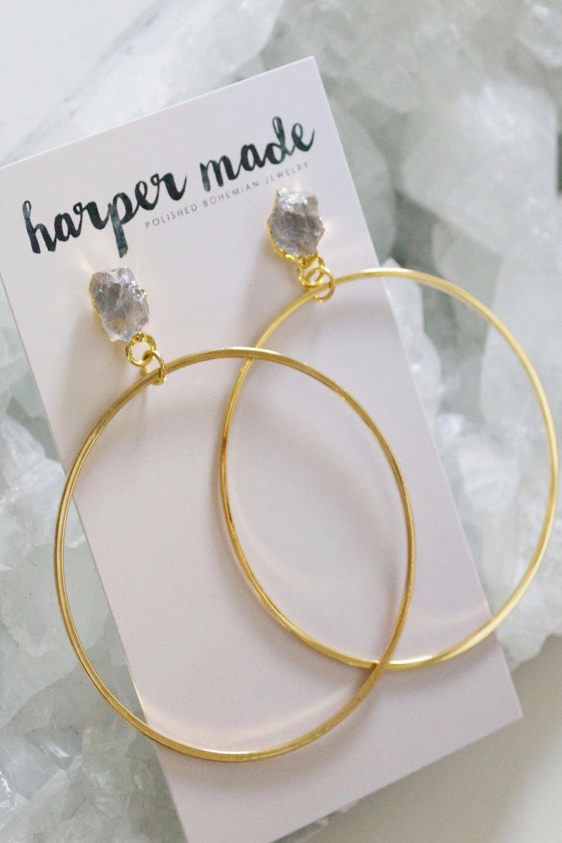 Stella - Raw Crystal Stud Gold Hoop Earring