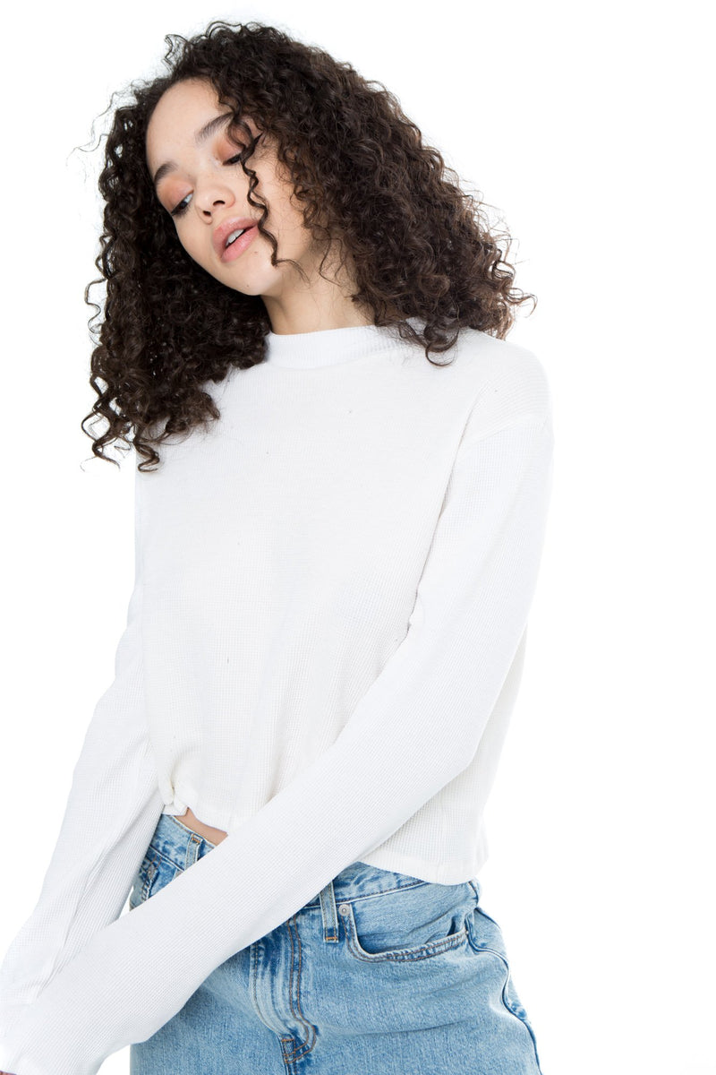 Any Day Basic - Long Sleeve Waffle Crew - White