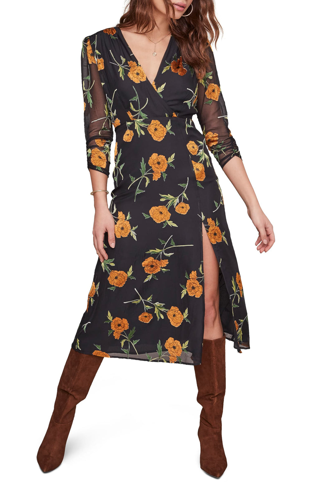 Joni Floral Midi Dress - Metallic Orange Blossom