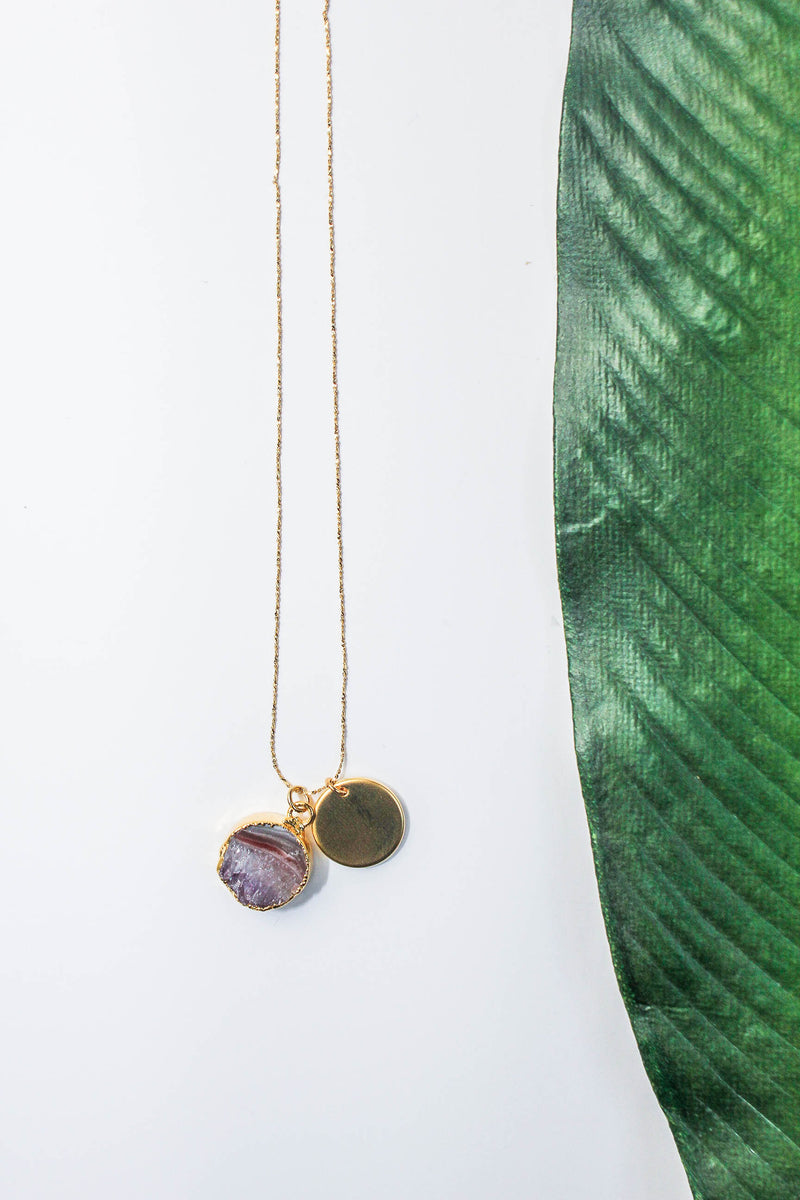 Eclipse Necklace - Amethyst & 24K Gold