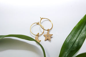 Star Gazer Mini Hoops - 16K Gold
