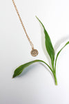 Evil Eye Coin Necklace //16K gold coin disc stamped evil eye delicate charm layering necklace