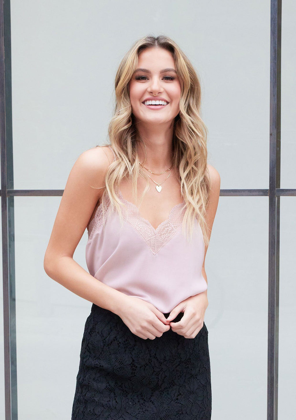 Delicate Balance Lace Cami Tank - Vintage Rose