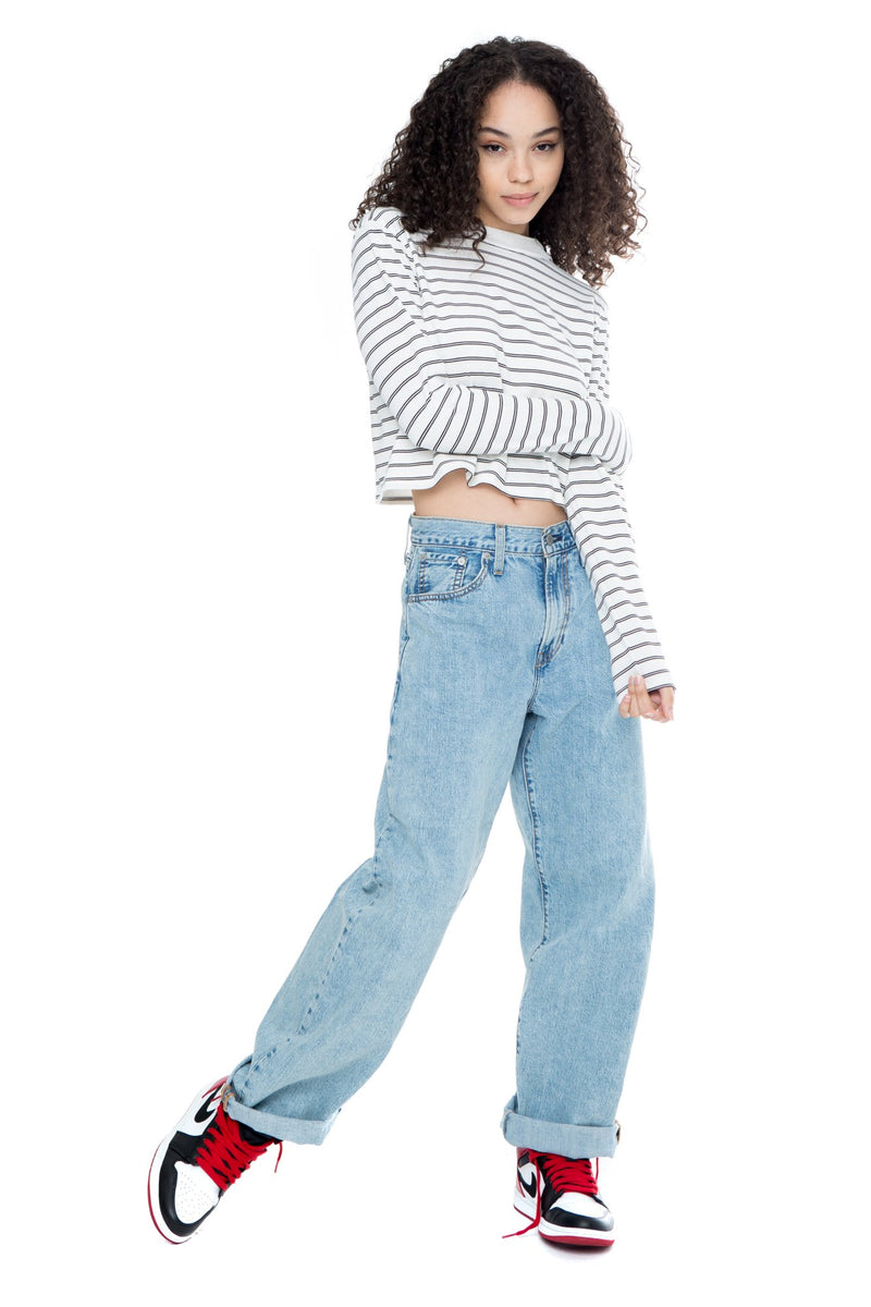Lara - Stripe Long Sleeve Crop Top