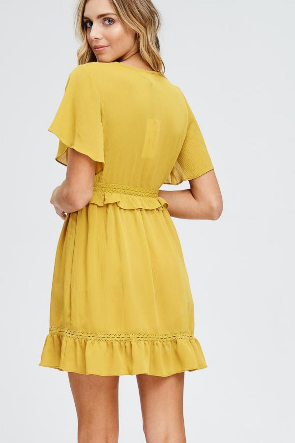 Venus - Yellow Ruffle Dress