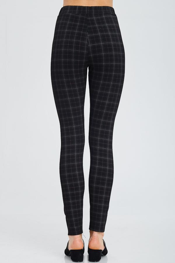 Einstein Pants - Dark Plaid Fitted Pants