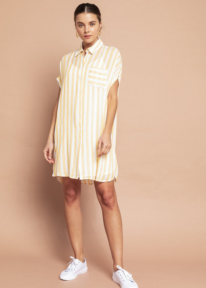 TARA STRIPED SHIRT DRESS