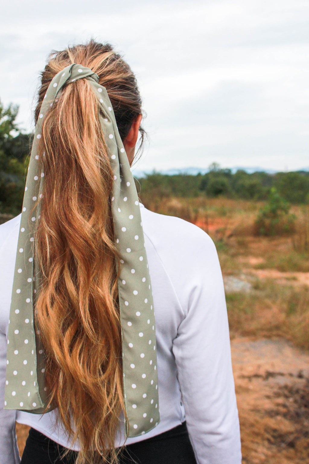 SAGE AND WHITE POLKA DOT SCARF