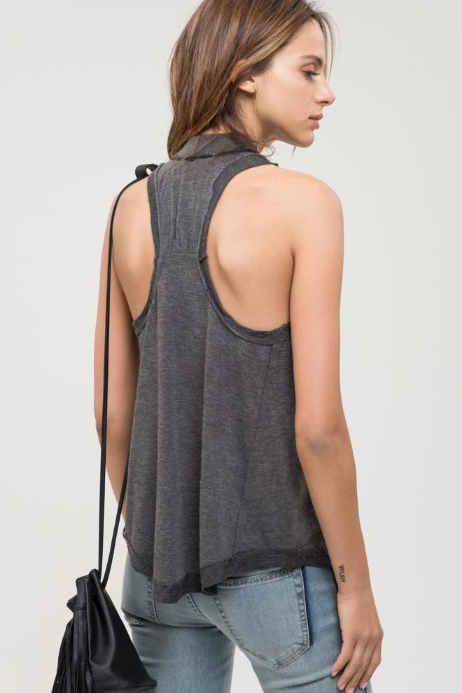 Cosmic Dust - Charcoal Mock Neck Top
