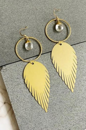 Quartz Feather Earring