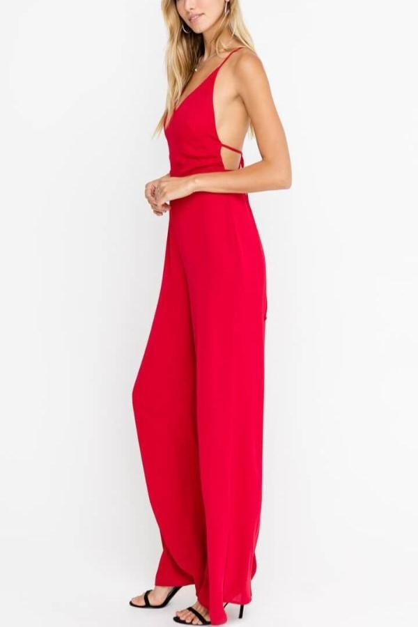 Aurora - Strappy Red Jumpsuit