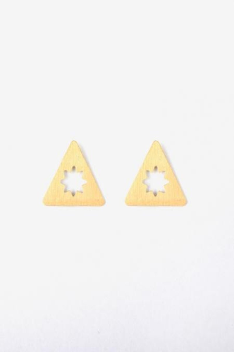 Pyramid Star Etched Bold Stud Earrings - GOLD
