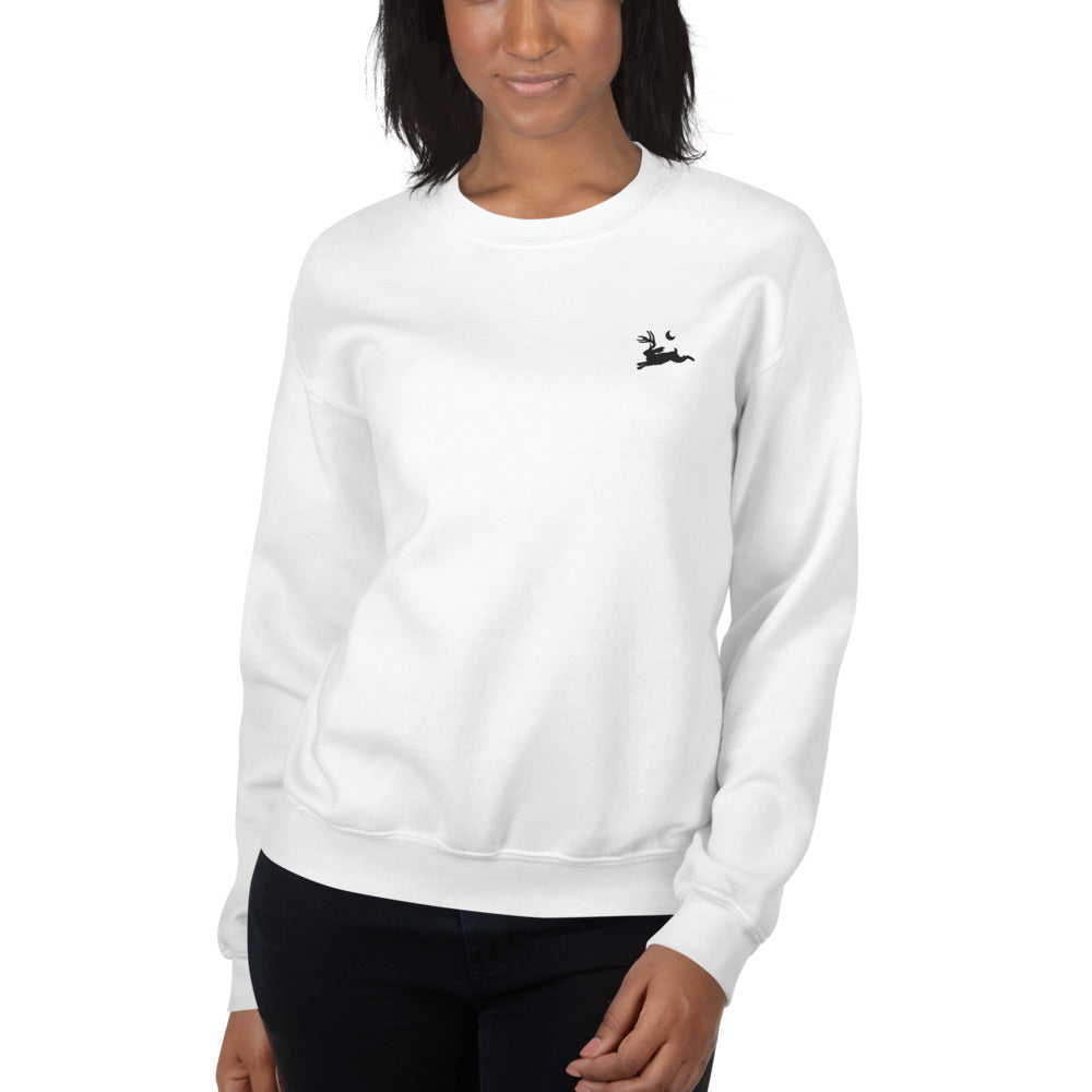 Twila Ray Unisex Crew Neck Sweatshirt - Black Jackalope