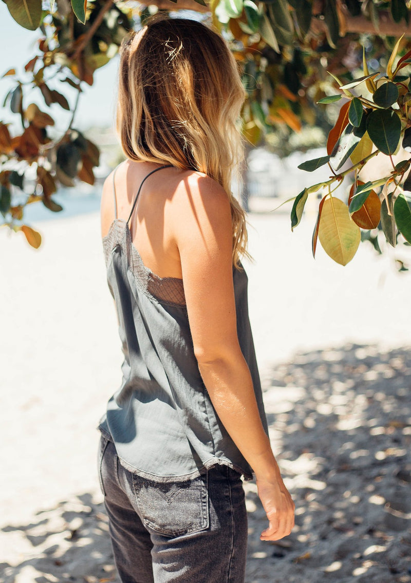 Delicate Balance Lace Cami Tank - Charcoal