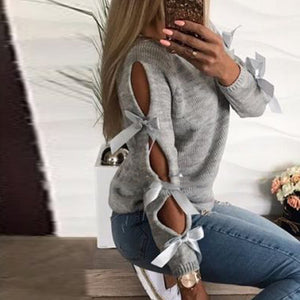 2018 Autumn Top Women Bow Hollow Out Sweater Long Sleeve Knitted Pullover Lace Up Sweaters Female Casual O Neck Pull Femme