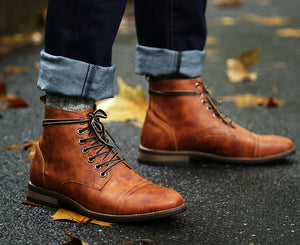 GENUINE LEATHER HIGH TOP BRITISH VINTAGE BOOTS + Free Shipping