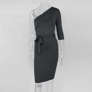 Dolly Elegant Bodycon Dress-Gray