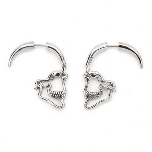 STEAMPUNK SILVER SKULL STUD EARRINGS