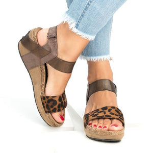 2018 Summer Women's Cute Leopard Print Wedges Platform Sandals