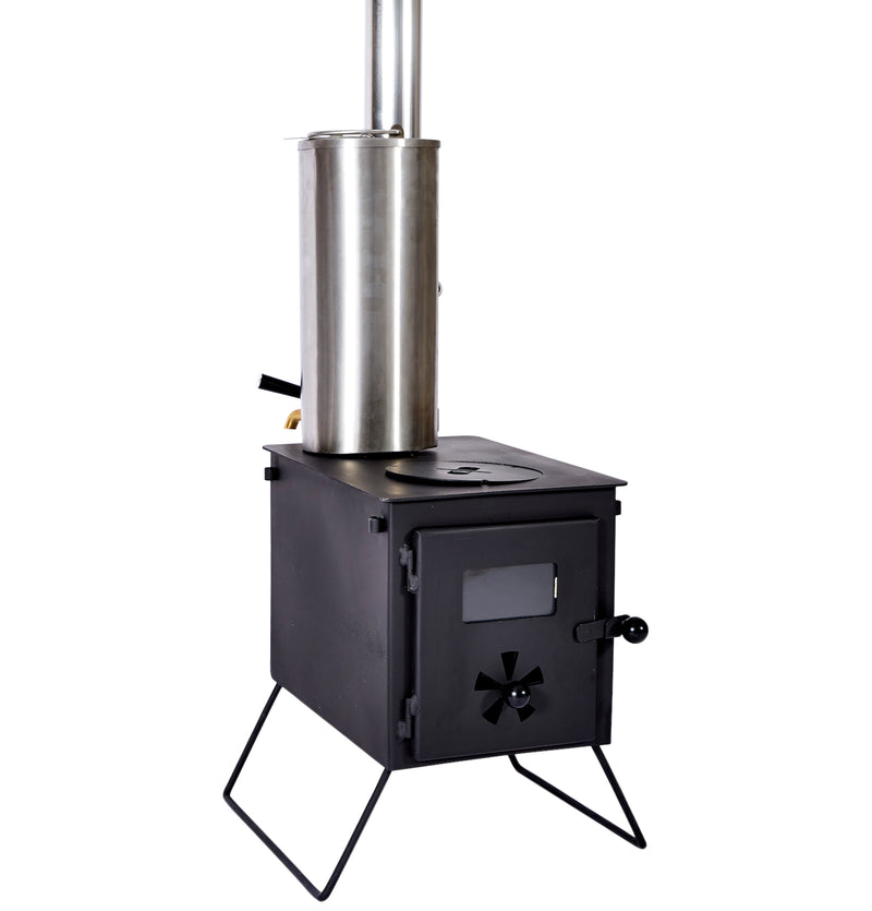 Outbacker stove water heater