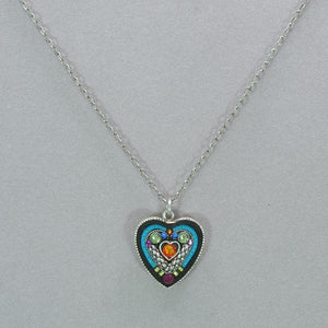 Heart within a Heart Mosaic Crystal Necklace