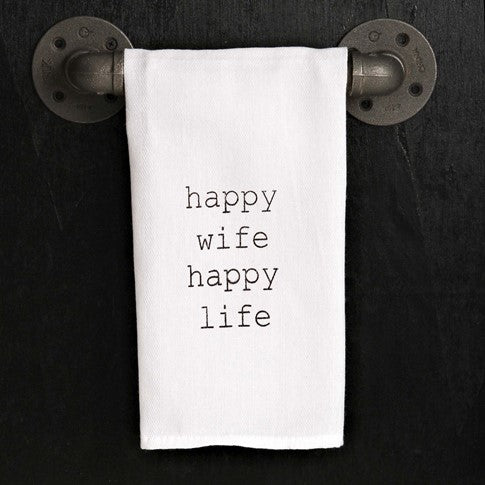 Happy Wife. Happy Life. dish towels