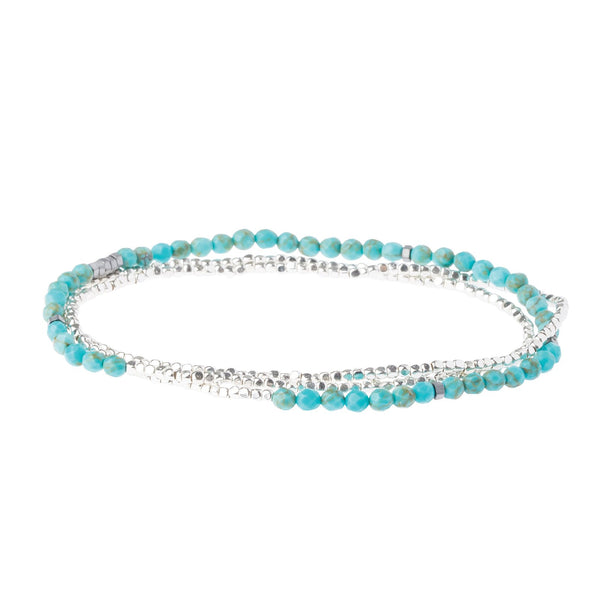 Delicate Turquoise Stone Wrap Bracelet/ Necklace