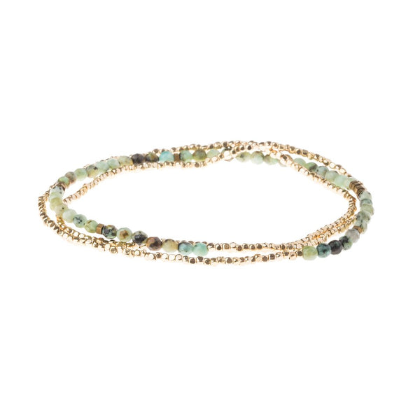 Delicate African Turquoise Stone Wrap Bracelet/ Necklace