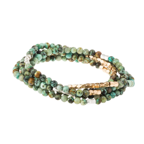 African Turquoise Stone Wrap Bracelet/ Necklace