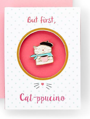 Cute Cat Pin on Greeting Card w/Envelope