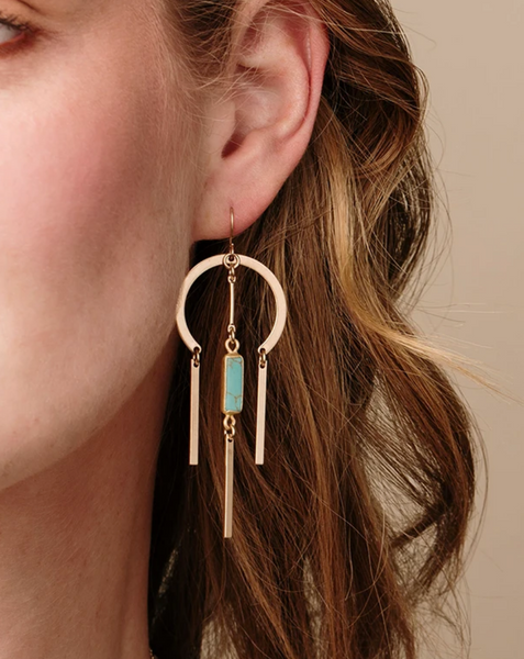 Dream Catcher Stone Earrings: Turquoise / Silver