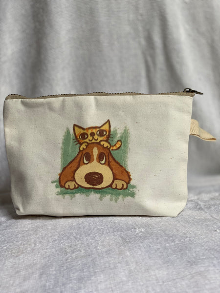 Handmade Canvas Makeup Zipper Bag w/ Cute Art Print