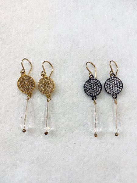 Long Crystal with Crystal Gold Circle Drop Earrings Made in PDX
