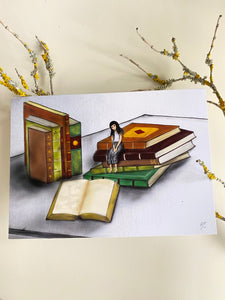 Bookworm Greeting Card  made in PDX