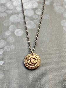 Circle Hand Cast Broze with Raised Chanel Design Necklace