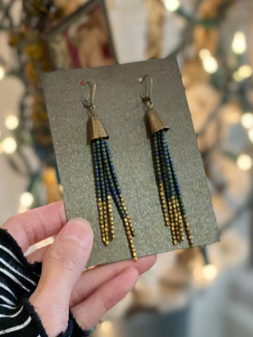 Handmade Hematite Antique Beads Earrings Made in PDX