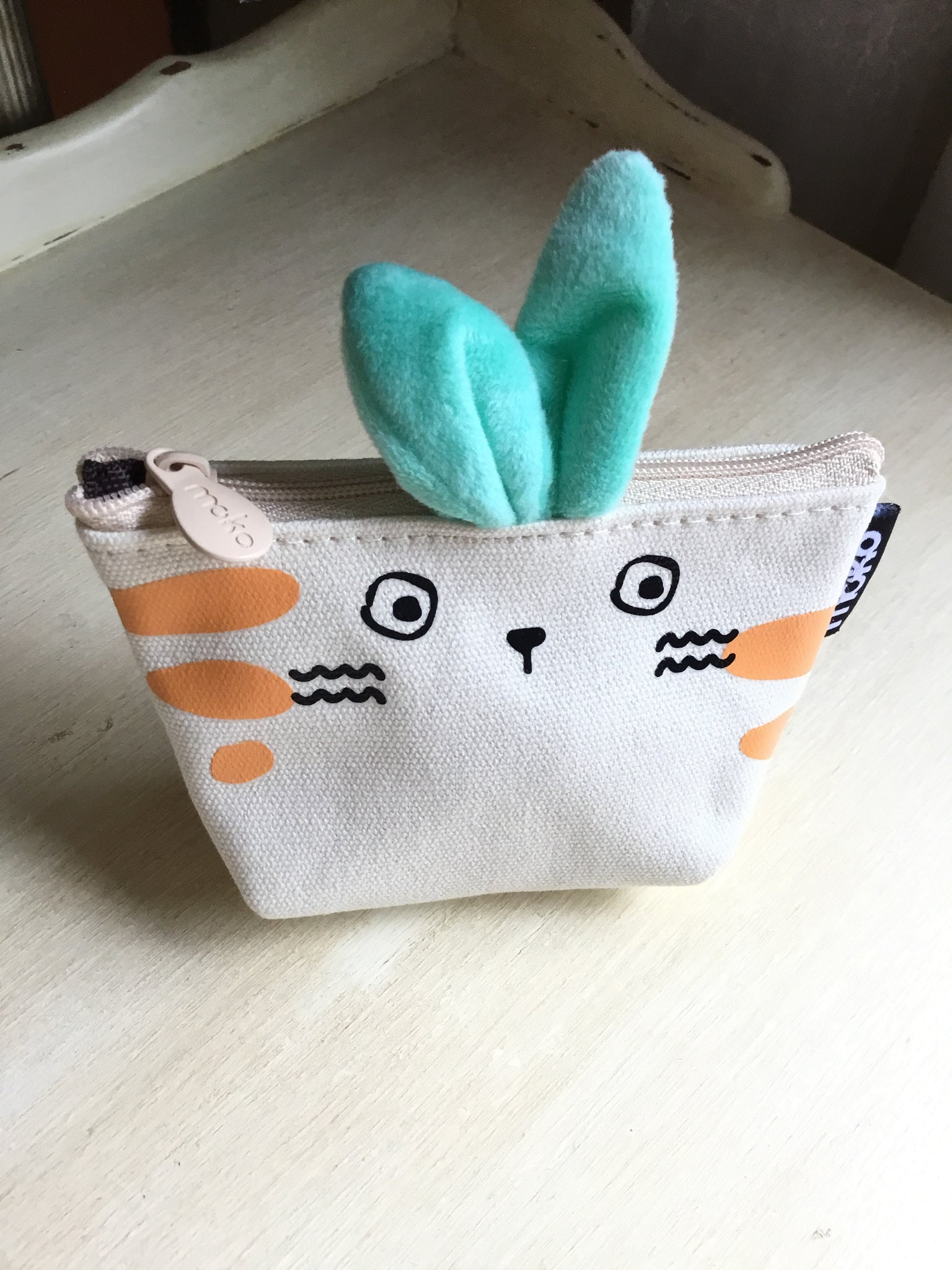 Cute canvas coin purse with soft bunny ears