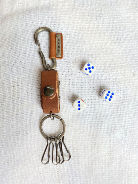 Leather keychain w/ 3 dice