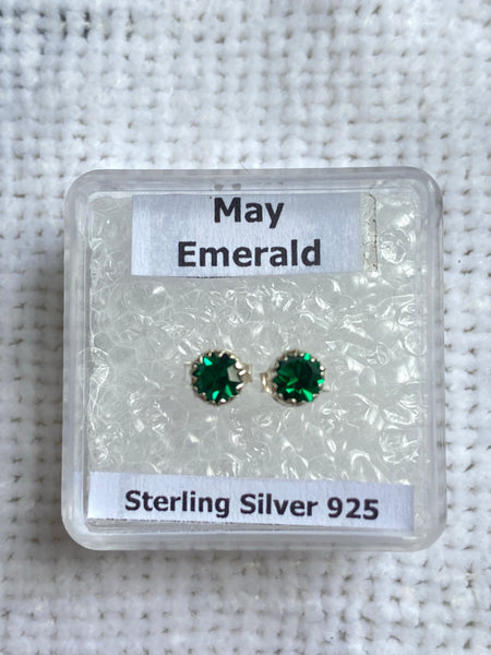 Sterling Silver Birthstone Stud Earrings