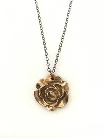 Hand Cast Bronze Rose Necklace