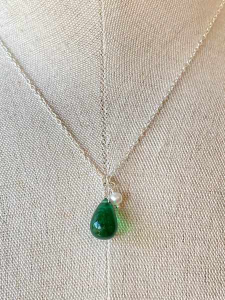 Green Quartz Pendant on Sterling Silver Necklace Made in PDX