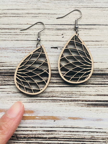 Beautiful Coil Bloom Drop Wooden Earrings Handmade In USA