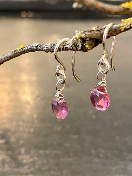 Pink Tourmaline Drop Earrings Made in PDX